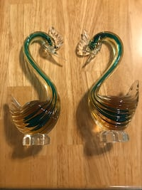 Two green and brown clear hand blown glass swan figurines Lutherville Timonium, 21093