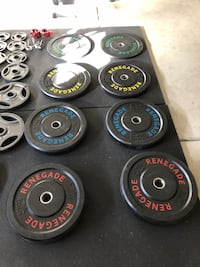 Four black and gray weight bumper plates Lake Elsinore, 92532