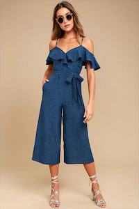 Open Shoulder Chambray Jumpsuit Mississauga