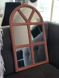 Brown wooden framed glass panel display cabinet
