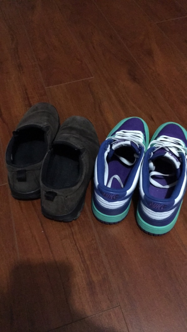 two pairs of black and blue shoes