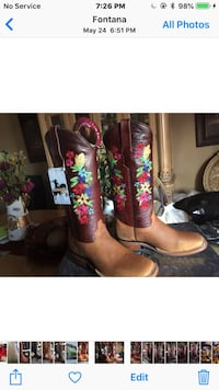 pair of brown leather cowboy boots Fontana, 92335