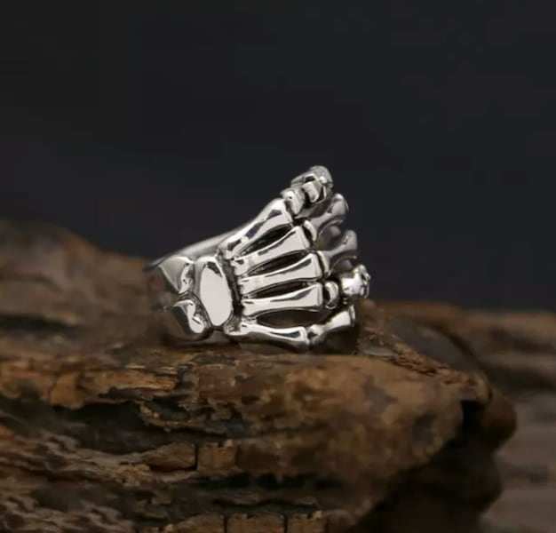 (Shipped Only) Real 925 Sterling Silver Cross Skull Ghost Claws Ring bcc8f2f7-81f4-4a8b-a223-f853d28e689b