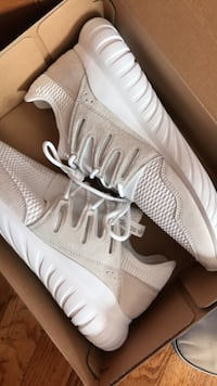 Size 10white adidas running shoes in box