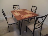 rectangular brown wooden table with four chairs dining set WASHINGTON