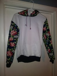 Floral and white hooded sweatshirt