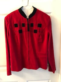 Red and Black Zippered Blazer  Riverdale, 07457