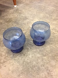two blue glass candle holders Waco, 76701