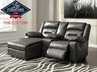 black leather home theater sofa Fayetteville, NC, USA