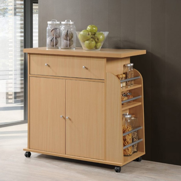 Portable Kitchen Cart with Spice Rack 22B2 (35.43W x 16.53D x 35H in.)