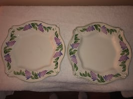"Two 11"" Farval hand painted plates mint condition"