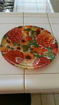 round brown and green floral ceramic plate