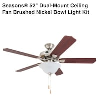 "Seasons® 52"" Dual-Mount Ceiling Fan Brushed Nickel Bowl Light Kit Tampa, 33609"
