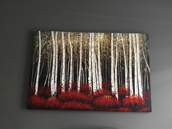 Red and white trees painting Red Birch Trees Art - 3x5