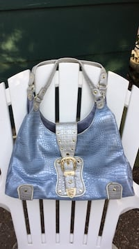 women's blue and white leather hobo bag Martinez, 94553