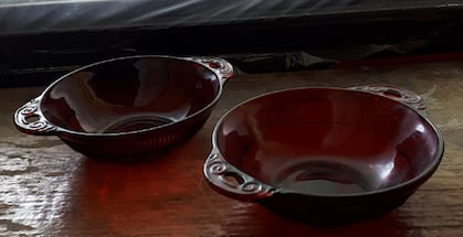 COLLECTION OF 2 ANCHOR HOCKING ROYAL RUBY RED BERRY DESSERT BOWLS with Handles