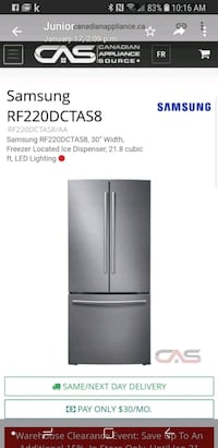 stainless steel french door refrigerator screenshot Toronto, M8Y 3J4