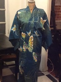 Green kimono with butterflies with an orange and yellow traditional sash, customized Los Angeles, 90005