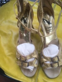 """A Very Nice Pair Of Dance Shoes Color Gold Size 5 1/2 Heels is 2.5 Brand Name is """" Elegance """" Arcadia, 91006"""