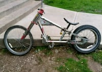 gray and red BMX bike