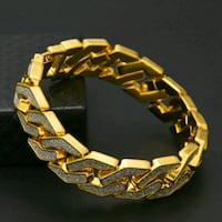 Gold plated zircon covered men's Bracelet Waterloo, N2K 4K9