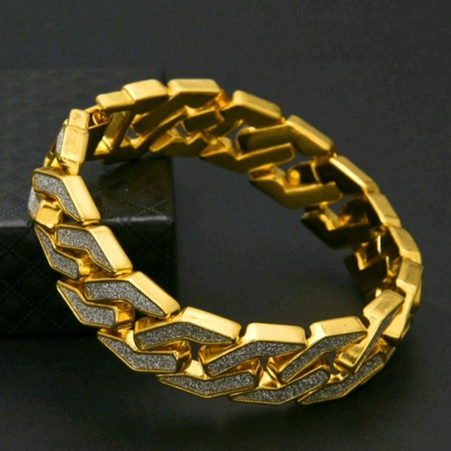 Gold plated zircon covered men's Bracelet