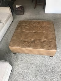 Custom tan leather ottoman. Great condition! Price negotiable— cash or Venmo only  Denver, 80202