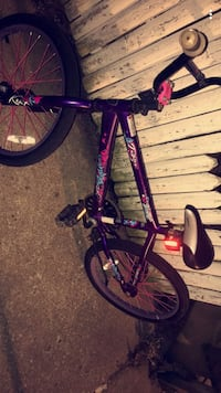 purple and black BMX bike