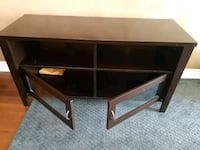 brown wooden framed glass top TV stand Mississauga, L5N 6T3