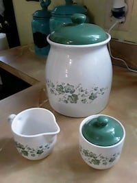 Corelle  Calloway ivy cookie jar and sugar creamer