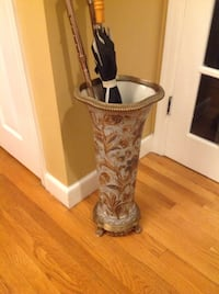 Brass and porcelain umbrella stand Medfield, 02052