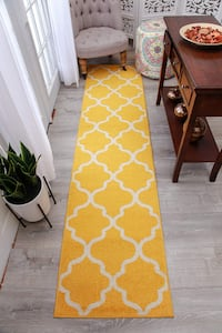 Yellow Trellis Rug runner rug NEW 2x8