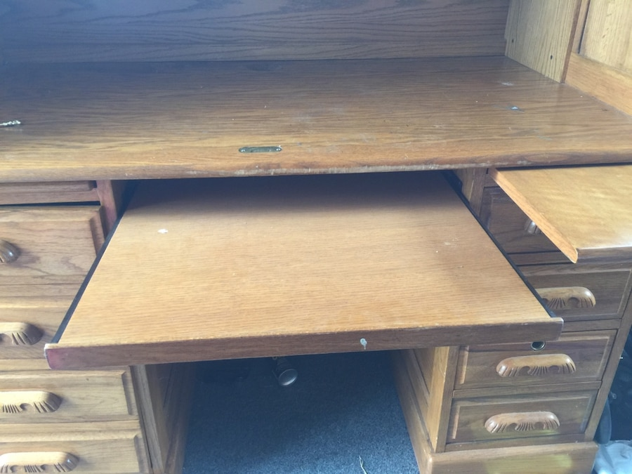 Used Brown Wooden Roll Top 4 Layered Cabinet Drawer In