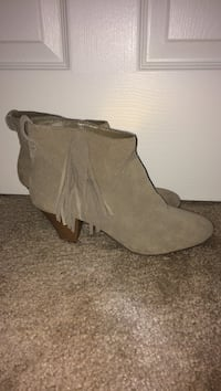Pair of fringed gray suede cone-heeled booties