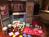 Toys camper for american girl doll sized also tons of extra dishes and food and pots and pans kitchen ware toy Toms River
