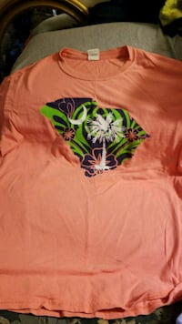 orange and green floral crew neck shirt Hartwell, 30643