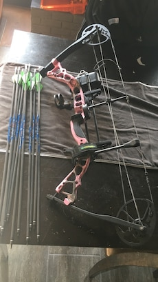 red and black compound bow set