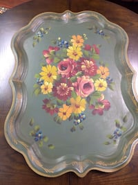 Beautiful Big Size Vintage Hand painted Metal Tray Gloucester County, 08051