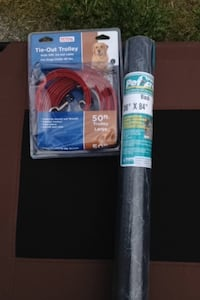 A dog cable leash up to 50 feet with a 10 foot cable to the 50 also black fencing 36 bye 84 and a cock 3 x 2  Everett, 98201