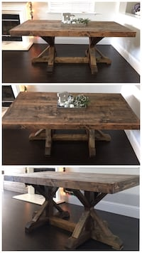 6FT x 3FT Solid Wood Rustic Farm House Dining Table Fresno