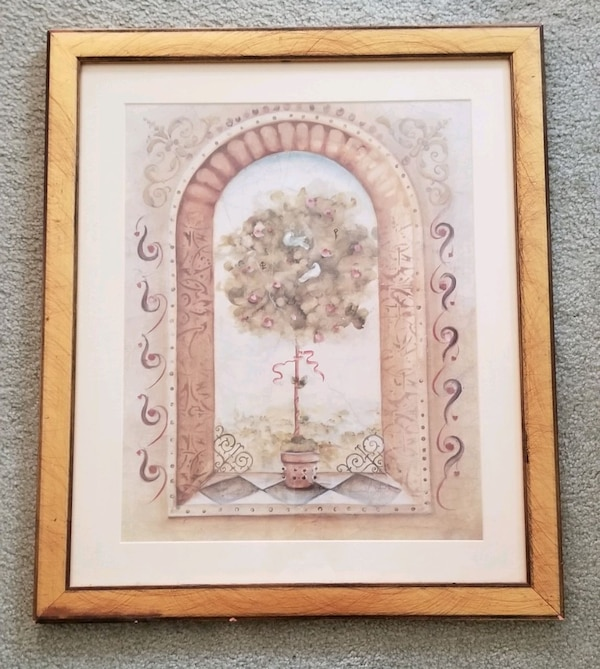 Brown wooden framed painting of flowers d2735e37-af3d-4ce5-b81c-f64a5cb3a277