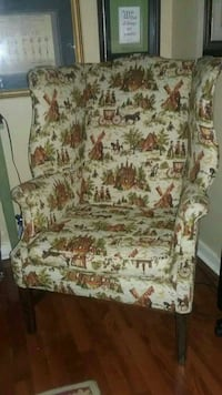 beige, green and brown house print suede armchair Littlestown, 17340