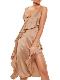 nwt Missguided Satin Ruffle Dress 12