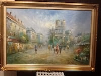 painting of people standing near the building with brown wooden frame