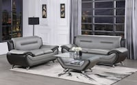 Gray And Black 2PC Sofa & Loveseat