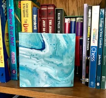 NEW blue abstract painting on small canvas