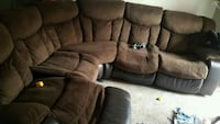 brown suede recliner sectional couch San Antonio, 78233