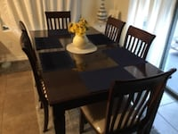 rectangular black wooden table with six chairs dining set Phoenix