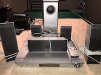 gray-and-black Panasonic home theater system
