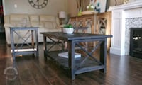 Rustic solid wood coffee table and 2 end tables se Brant